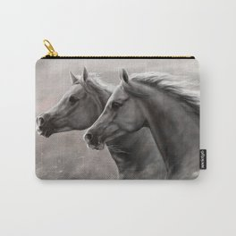 Two Horses Painting Gift Black Stallions                                          Carry-All Pouch
