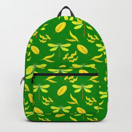 Pretty beautiful golden yellow dragonflies, leaves elegant stylish green nature spring pattern Backpack