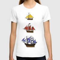 pirate ship T-shirts featuring Pirate Ship Convoy by Scottdoesart