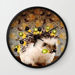 Hedgehog Sticks Wall Clock