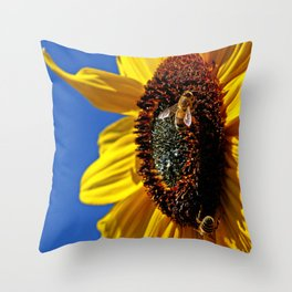 Sunflower with bees Throw Pillow