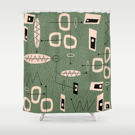 Mid-Century Atomic Green Abstract Shower Curtain