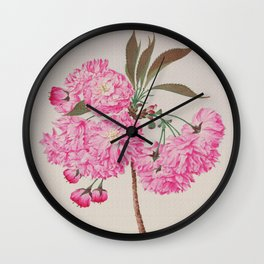Barrier Mountain Cherry Blossoms Watercolor Wall Clock