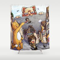 attack on titan Shower Curtains featuring Attack on Kitten - Attack on Titan by Cute-Loot