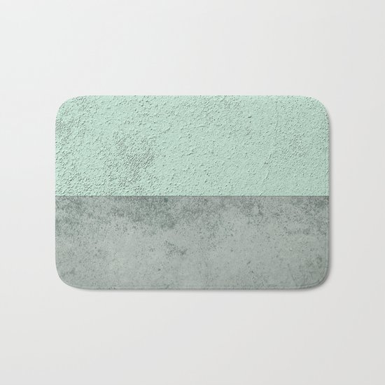 Turquoise Bath Rugs For Dry The Feet Simple Turquoise: MINT TEAL GRAY CONCRETE CIRCLE Bath Mat By Xiari