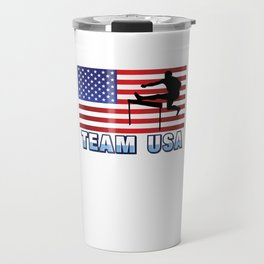 Team USA Hurdles Running Athletics American Flag Outdoor Sports Gift Design Travel Mug