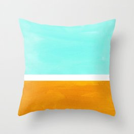 Rothko Minimalist Mid Century Modern Vintage Colorful Pop Art Colorfield Light Teal Yellow Ochre Throw Pillow