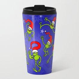 Christmas Frogs jumping, dancing and celebrating! Travel Mug