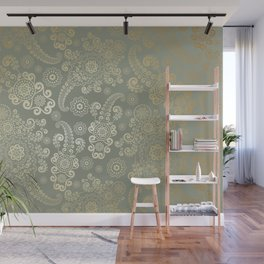 Golden Luxury Paisley on Light Gray Background Wall Mural