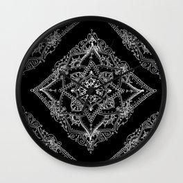 Mandala Doodle Pattern in Black & White Wall Clock