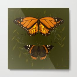 Monarch and Red Admiral Metal Print