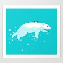 Swimming polar bear Art Print