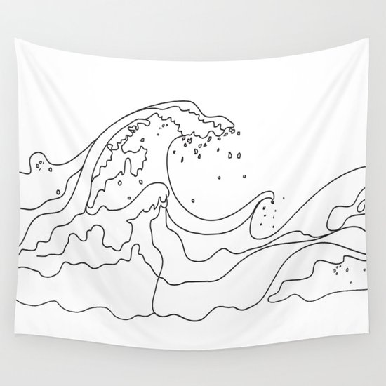 Minimal Line Art Ocean Waves by nadja1