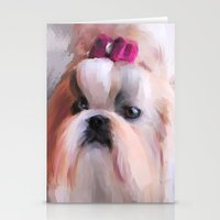 shih tzu Stationery Cards featuring Little Girl Shih Tzu by Jai Johnson