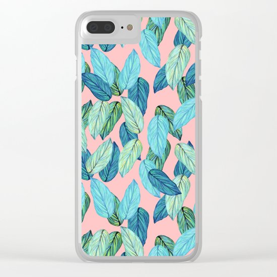 Tropical leaves on Pink Clear iPhone Case