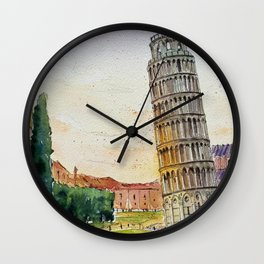Leaning Tower of Pisa, Italy | Watercolor Wall Clock