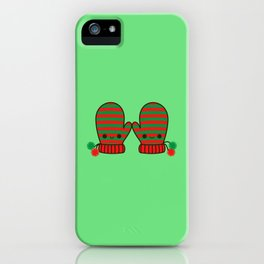 Cute stripy mittens iPhone Case