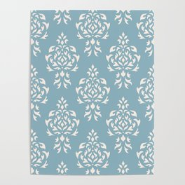 Crest Damask Repeat Pattern Cream on Blue Poster