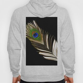 ART DECO PEACOCK FEATHER BLACK ART Hoody
