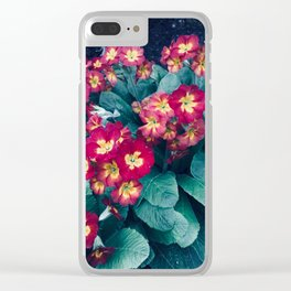 Pretty Little Red & Yellow Flowers Clear iPhone Case