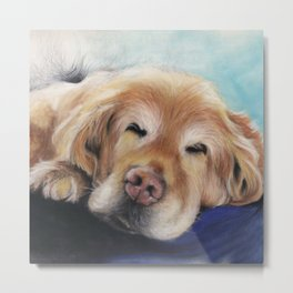 Sweet Sleeping Golden Retriever Puppy by annmariescreations Metal Print