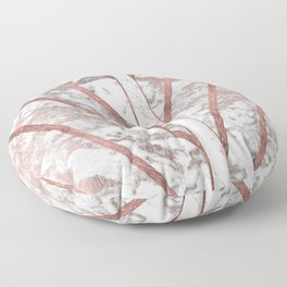 Modern faux rose gold white geometrical marble stripes Floor Pillow