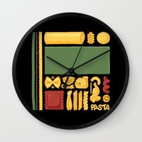 pasta Wall Clocks featuring Pasta Mondrian by Chayground