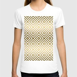 White & Gold Modern Geometric pattern T-shirt