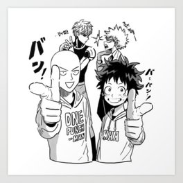 One Punch Man Vs Boku no Hero Academia Art Print