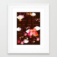 calender Framed Art Prints featuring Calender Owls 2013 by Elisandra