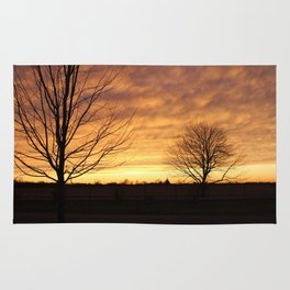 Sunset with 2 Trees Rug