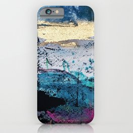 Twilight: a beautiful, abstract watercolor + mixed-media piece in blue, gold, purple, pink, + black iPhone Case
