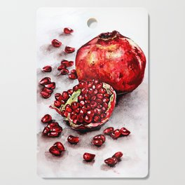 Red pomegranate watercolor art painting Cutting Board