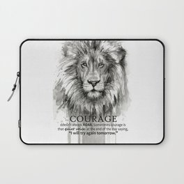 Lion Courage Motivational Quote Watercolor Painting Laptop Sleeve