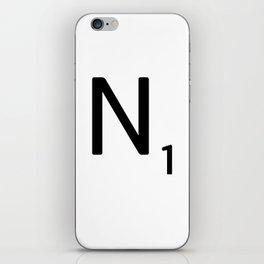 Letter N - Custom Scrabble Letter Tile Art - Scrabble N Initial iPhone Skin