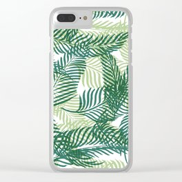 Green Palm Leaves Clear iPhone Case