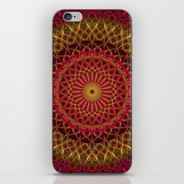 Detailed red and golden mandala iPhone Skin