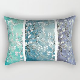 Van Gogh : Almond Blossoms Turquoise Teal Steel Blue Panel Art Rectangular Pillow