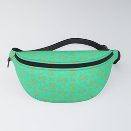 Stylized Art Deco S Monogram Spur on Turquoise Mint Green Ranch & Rodeo Design Pattern Fanny Pack