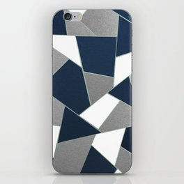 Navy Blue Gray White Mint Geometric Glam #1 #geo #decor #art #society6 iPhone Skin