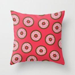 Pink Donut Pattern Throw Pillow