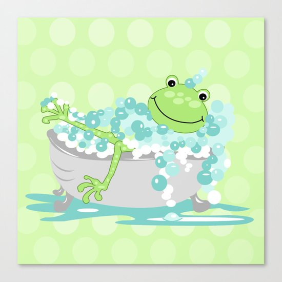 frog in bathtub kids shower bathroom art canvas print