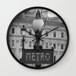 Paris Metro Sign BW Wall Clock