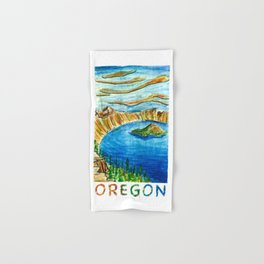 Crater Lake National Park - Oregon Travel Poster Hand & Bath Towel