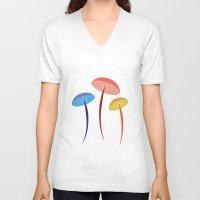 mushroom V-neck T-shirts featuring Mushroom by Emmyrolland