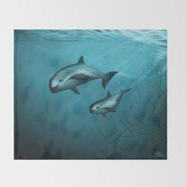 Treacherous Waters - Vaquita Porpoise Art, Original Digital Painting by Amber Marine, Copyright 2015 Throw Blanket