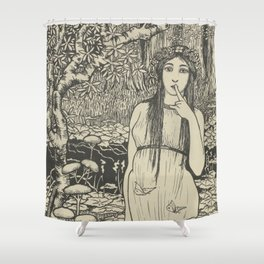Woman in forest landscape - Gust of the Wall Perné, (1900) Shower Curtain