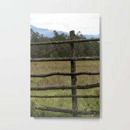 Wood Fence in a Pasture Metal Print
