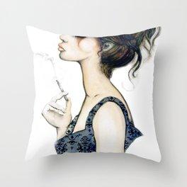 Smoke // Fashion Illustration Throw Pillow
