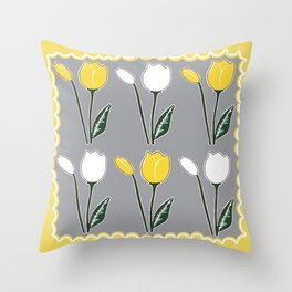 Tulips Pattern in Yellow, White, and Grey Throw Pillow